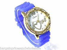 Blue ANd Gold SILICONE JELLY BEAN STYLE Diamante watch LOVE HEART Gel Fashion
