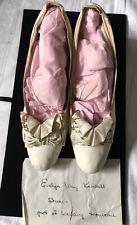 Antique 1890's Cream Kid Shoes 1� Heels Silk Cut Steel Bow 9-1/2� Long