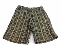 REUNION MENS BROWN & GRAY PLAID COTTON CASUAL SHORTS SIZE 34