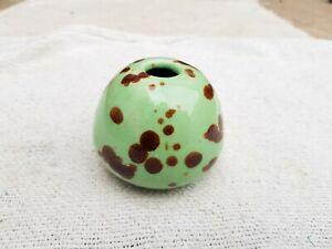 1940 Vintage Old Original Light Green Brown Dots Design Ceramic Inkwell Ink Pot