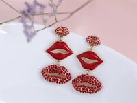 Earrings Golden Big Long Chandelier Mouth Red Extravagant XX24