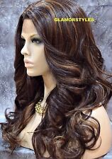 "27"" Wavy Layered Dark Brown Auburn Mix Full Lace Front Wig Heat Ok Hair Piece"