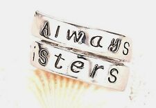 "Mantra Silver Plated ""Always Sisters"" Sentiment Spoon Wrap Ring New in Gift bag"