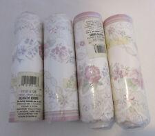 4 pkg Wallpaper Border Scalloped Edge Pink Flowers Embossed Victorian 5 yds each