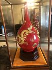 CHINESE RED GLAZE GOLD DRAGONS VASE w/ GLASS ENCLOSURE  #1