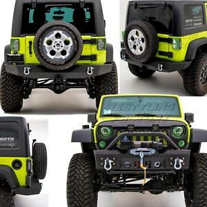 Stubby Front Bumper+Full Width Rear Bumper+Hitch+DRing for 07-18 Jeep Wrangler