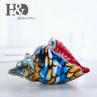 Hand Blown Glass Murano Art Style Rainbow Seashell Conch Sculpture Ocean Decor