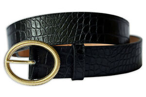 Women Crocodile Pattern Italian Leather Belt with Gold Toned Oval Buckle - Black