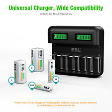 EBL Universal LCD Smart Battery Charger - 8 Bay USB For Ni-MH AA AAA C D Battery