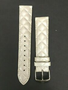 Michele Genuine Whisper White Quilted Leather Strap  MS18AA370156   18mm