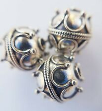 Sterling Silver Bali Beads ~ Crown Round Bead 10 mm ~ Jewellery making supplies