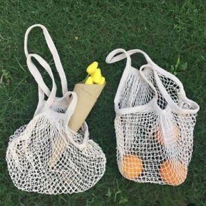 Mesh Shopping Bag Pack of 2 Natural Organic Cotton Biogradable & Eco-Friendly