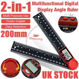 2 In 1 Digital Angle Finder Ruler 7 Inch Protractor 200MM Plastic Angle Gauge