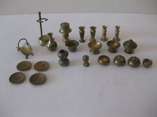 Brass Dollhouse Accessories Plates Lamp Bowls Candle Sticks ( Lot of 22 )