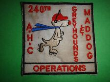 US 240th Assault Helicopter Company GREYHOUNDS MADDOG OPS Patch From Vietnam War