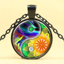 Wholesale Cabochon Glass Black  Chain Pendant Necklace ,Seven chakras /23