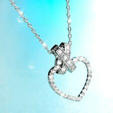 18K WHITE GOLD MADE WITH SWAROVSKI CZ LOVE HEART PENDANT NECKLACE