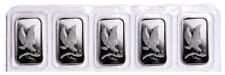 Lot of 5 - United States SilverTowne Mint Eagle Design 1 oz Silver Bar SKU48247