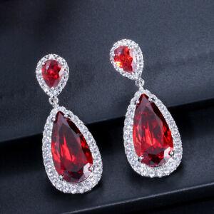 Ruby Red Cubic Zirconia Stone Long Teardrop Dangle Earrings for Ladies Costume