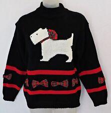 Vtg 80's Ugly Christmas Cristina Black Scottish Scottie Dog Sweater Knit  Sz S