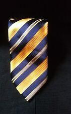 ITALO FERRETTI Blue Yellow Repp Stripe Striped Tie Silk Necktie Made in Italy