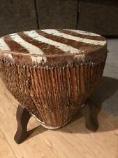 Zebra Hide Drum End Table