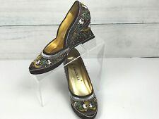 Rasolli Women's  Wedge Heel Brown Satin Beaded Sequin Embroidered Shoe Size 7