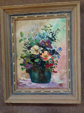 ACRYLIC ON BOARD signed ROZA (flowers in pot)