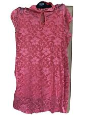 ASOS Womens Size 18 Pink High Neck Lace Body Con Dress