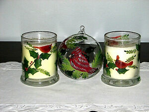 NEW! Christmas Set of Red Cardinal and Holly Candles Cardinal Ornament Winter