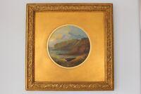 19C Antique Scottish Highland Loch Landscape Oil Painting Signed