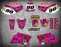 Full  Custom Graphic Kit PINK METAL Yamaha TTR 90 - 2000 - 2007 stickers decals