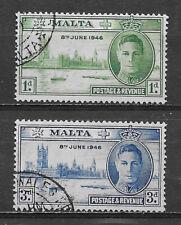 MALTA , GEORGE VI , 1946 , PEACE ISSUE , SETOF 2 , PERF , USED