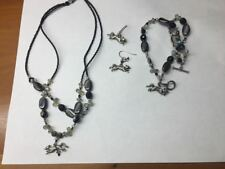 Fox Necklace , Bracelet and Earrings - Black Silver Beaded