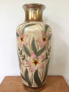 """Vtg Style Gold Crackle Hollywood Regency Crane Lacquer Floral Floor Vase 20"""""""