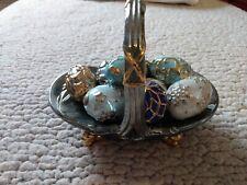 Faberge Winter Mini Egg Basket W/9 Eggs Porcelain Franklin Mint Used.