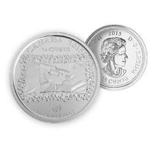 Pair of Both Plain /& Coloured 2015 Canada Flag 25 Cents Coins