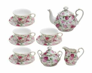 Gracie China by Coastline Imports Pink Summer Rose Chintz 11-Piece Tea Set - ...