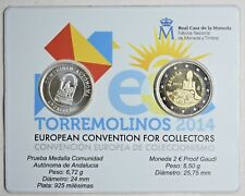 2014 Spain 2 Euro Gaudi Proof Coincard, Silver medal, Torremolinos Convention