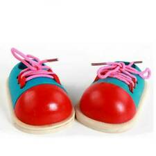 Wooden Lacing Shoe Toy Learn to Tie Laces Montessori Early Teaching Toy~jpLS *