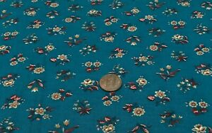 "Small Flowers(Yellow & Red)TossedOn Teal*VIP Cranston*100% Cotton Remnant 21""x8"""