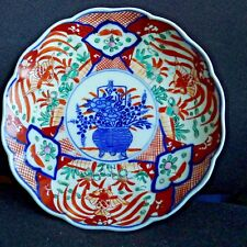 Imari style plate with underglaze blue flower basket