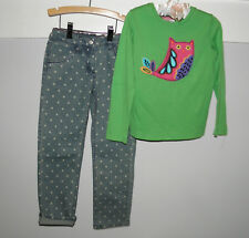 HANNA ANDERSSON GREEN OWL TOP POLKA DOT STONE WASHED JEANS GIRLS 120 FALL