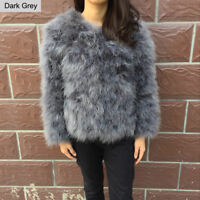 Women Real Ostrich Feather Fur Coat Jacket Winter Outwear Cropped Fashion Size