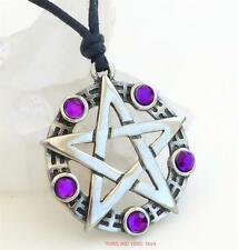 Pentacle Pentagram Pendant Necklace purple beads Pagan Wiccan Druid Jewellery