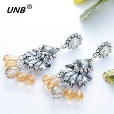 Crystal Chandelier  Silver Champagne Earrings Gold Plated Wedding Earrings Women