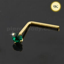 9K Gold Emerald Jeweled Nose Stud Body Jewelry Piercing