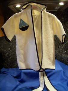 "NWOT "" BIB & TUCKER"" WHITE BLUE SAIL BOAT HOODED TERRY BATH ROBE USA 100% COTTON"