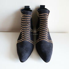 BN ANINE BING 'charlie boots' gold studs navy blue suede leather short ankle 37