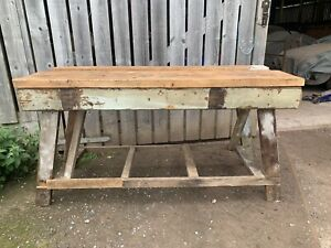 Industrial Wooden Carpenters Work Bench Table